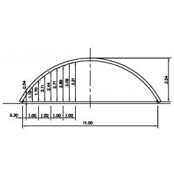 bâtiment semi circulaire - porté 11m hauteur de voûte 3,50m